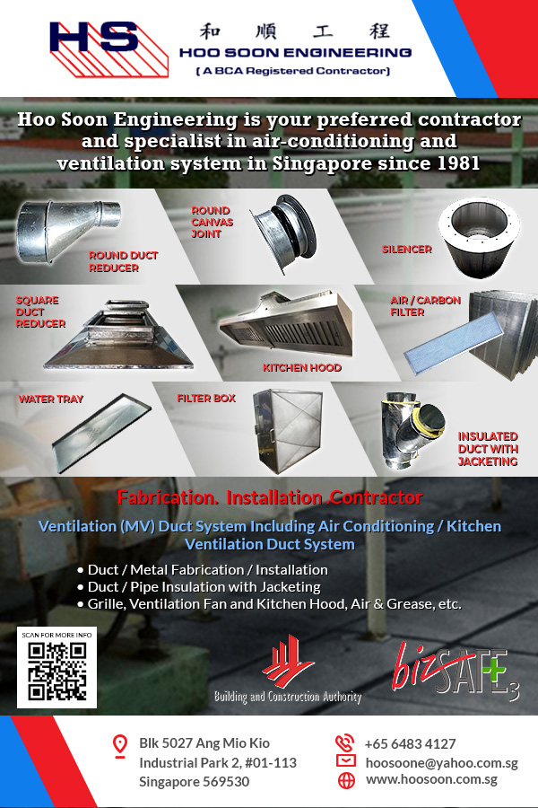 Since its inception in 1981, Hoo Soon Engineering has consistently coordinated, designed, fabricated, and installed commercial and industrial ventilation, including ACMV ducting systems.