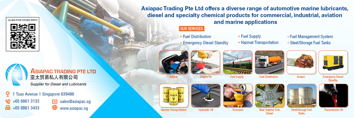 Asiapac Trading Pte Ltd offers a diverse range of automotive, marine lubricants, diesel, and specialty chemical products for commercial, industrial, aviation and marine applications.