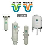 Van Air Systems D-Series Compressed Air Dryers are single tower deliquescent compressed air dryers for stationary applications. D-Series Dryers remove harmful water vapor from compressed air lines. Wet compressed air enters the bottom of the dryer and flows upward through a bed of deliquescent desiccant, which