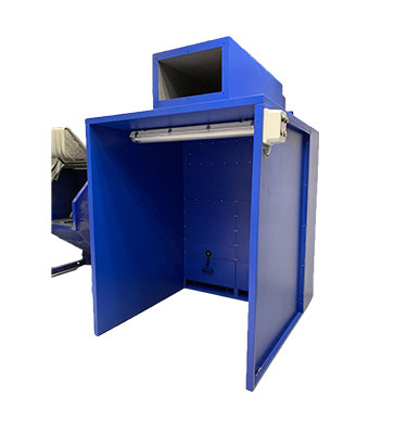 Back draft booths or dust booths isolates the dust from the operator during a sand blasting, sanding or grinding process.