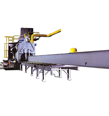 Structural Steel Shoot Blasting System is designed for de-scaling and blast cleaning of steel profile prior to fabrication.
