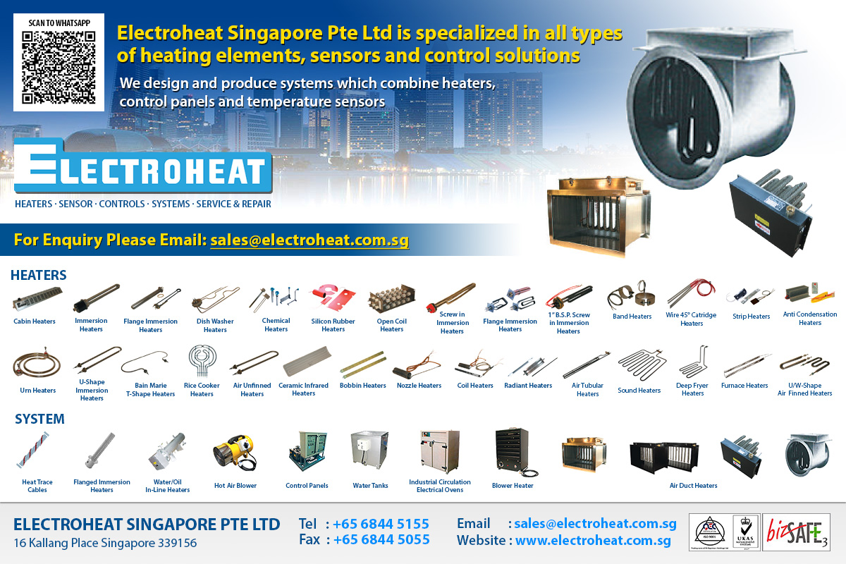 Electroheat Singapore Pte Ltd is specialized in all types of heating elements, sensors and control solutions.