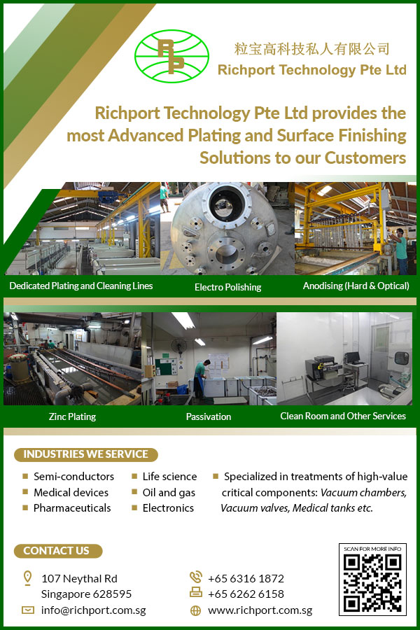 Richport Technology Pte Ltdwas first established in 1995 to provide small scale electro-plating service to some of the low end industries.