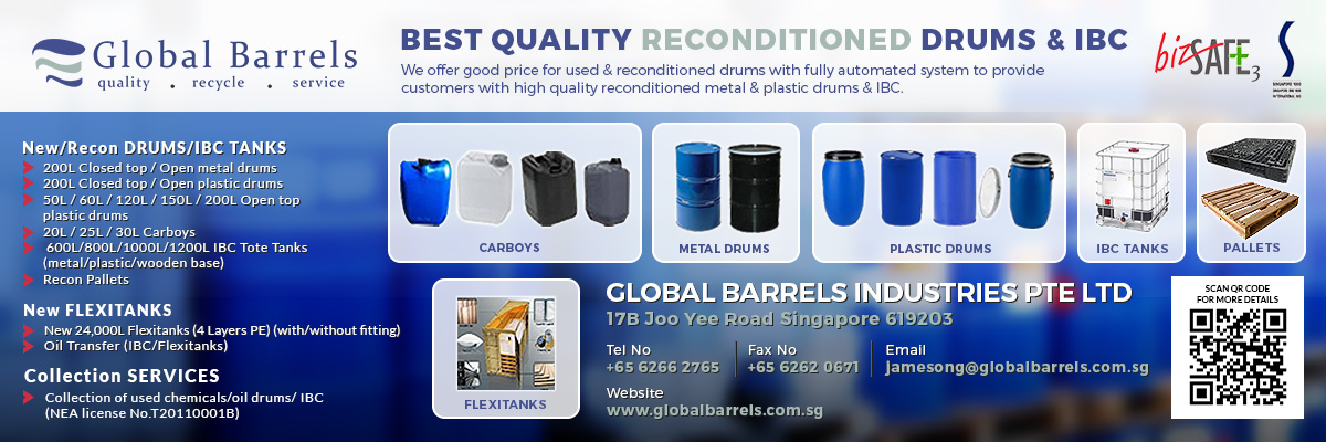 Global Barrels Industries, previously called Tiong Gee Industries is a leader in used drums reconditioning services.