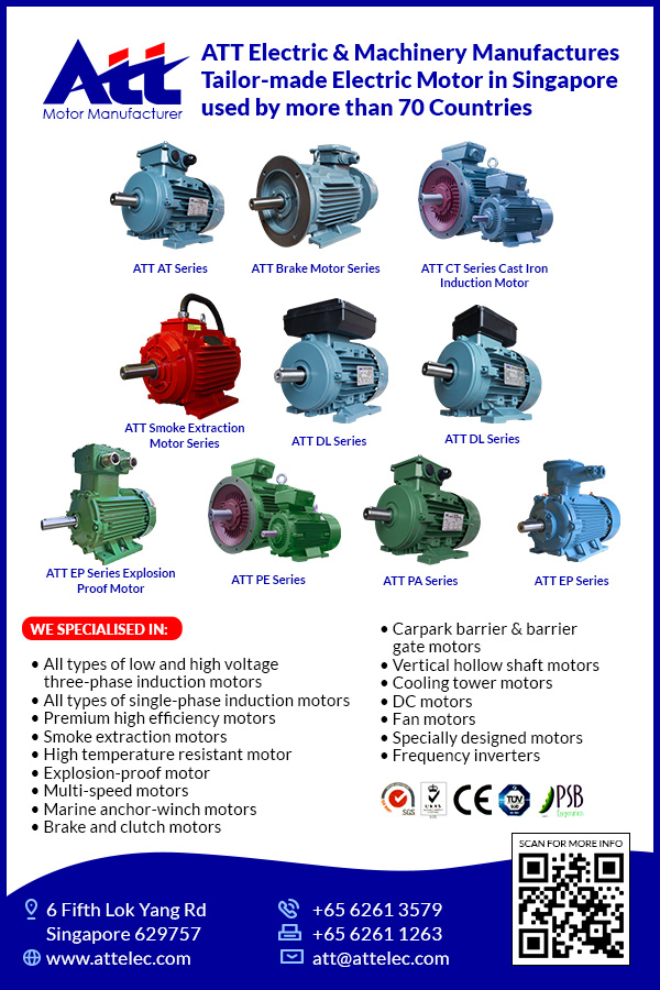ATT Electric & Machinery Pte Ltdis a worldwide supplier of electrical motors, parts, and services in the industrial equipment sector since 1981.